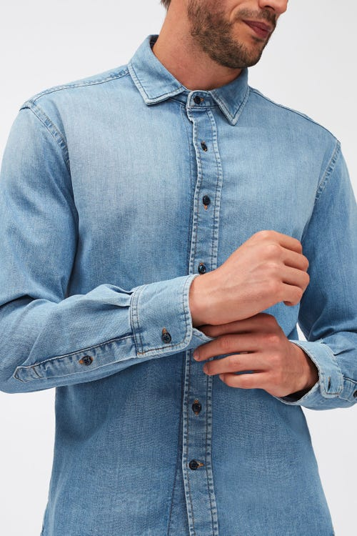 PLAIN SHIRT LUXE PERFORMANCE LIGHT BLUE