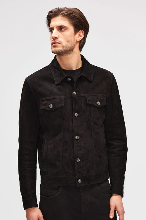 TRUCKER JACKET SUEDE BLACK