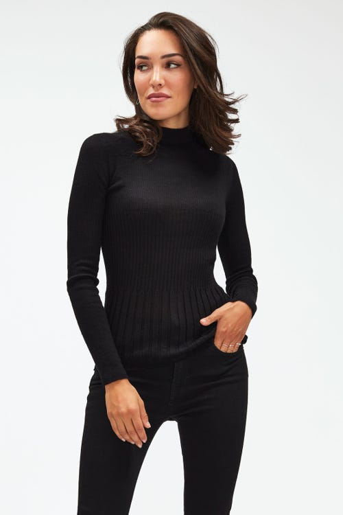 MOCK NECK SWEATER CASHMERE SILK BLEND BLACK