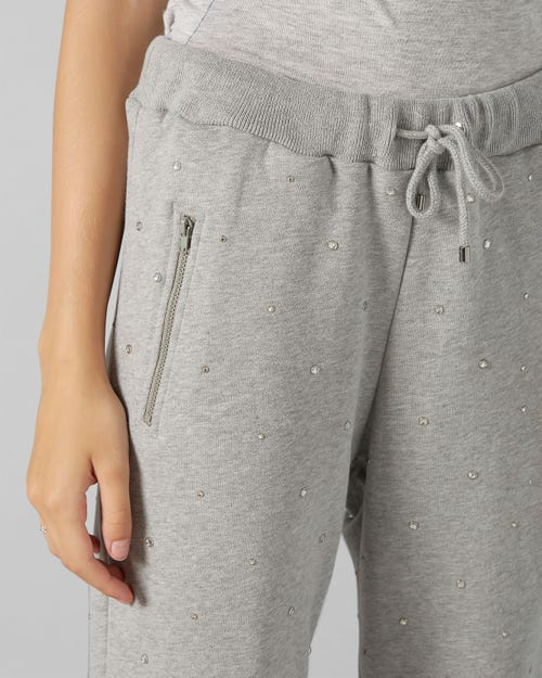 JOGGER COTTON GREY WITH RHINESTONES