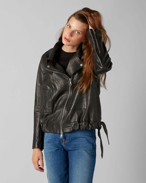 COULISSE JACKET LEATHER BLACK