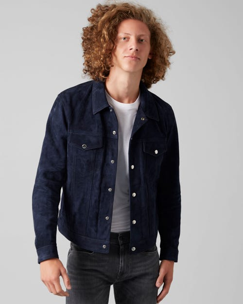 TRUCKER JACKET SUEDE DARK INDIGO