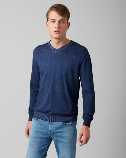 V-NECK KNIT COTTON RAW EDGE MIDNIGHT BLUE