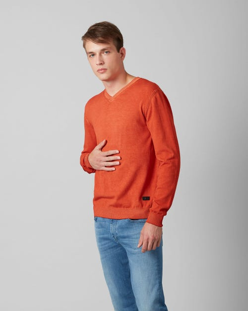 V-NECK KNIT COTTON RAW EDGE TIGER ORANGE