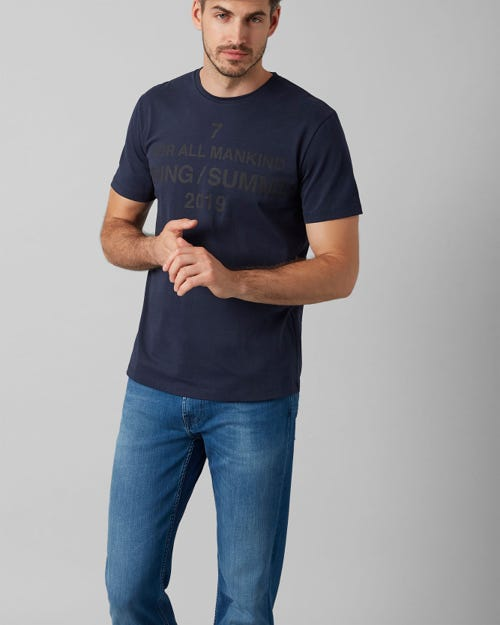 7 For All Mankind - Graphic Tee Cotton Logo Midnight Blue