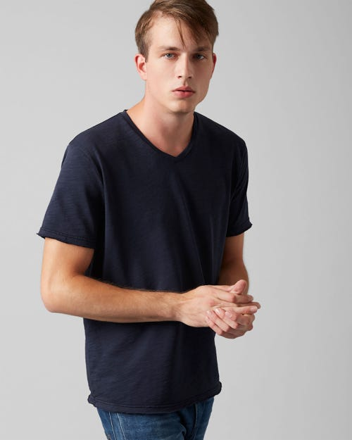 V-NECK T-SHIRT COTTON RAW EDGE MIDNIGHT BLUE