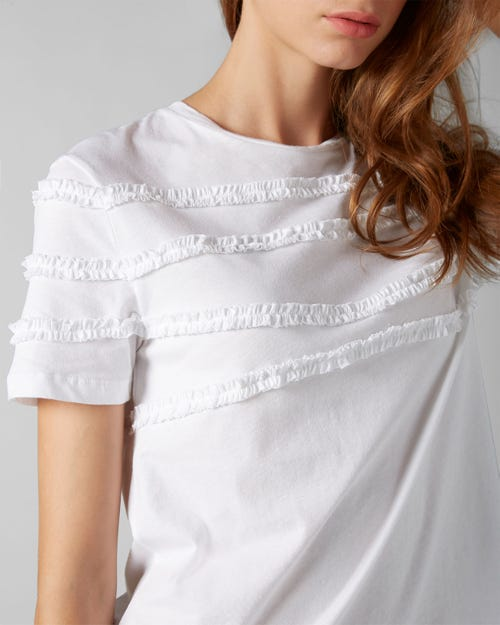 SHORT SLEEVE TEE JERSEY OPTICAL WHITE FRILLY RUFFLED