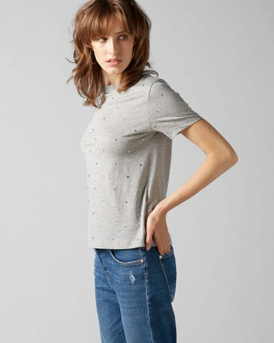 SHORT SLEEVE TEE COTTON GREY WITH RHINESTONES