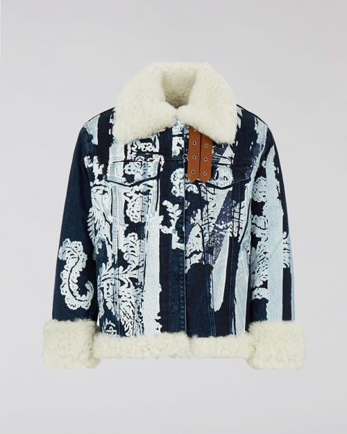 7 For All Mankind - Oversized Denim Jacket Bandana Stripe M'A X 7Fam