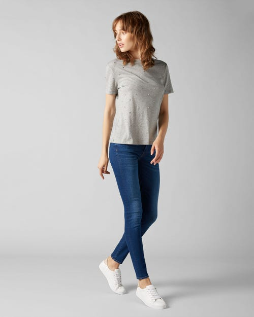 7 For All Mankind - The Skinny Slim Illusion Mar Vista With Embellishment