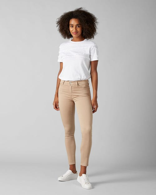 HIGH WAIST SKINNY CROP SATEEN LATTE