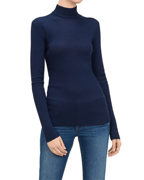 MOCK NECK SWEATER SILK CASHMERE BLUE