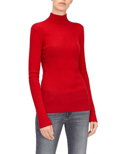 MOCK NECK SWEATER SILK CASHMERE FLAME