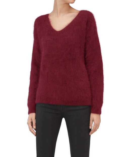 SLOUCHY V-NECK SWEATER MIXED FABRICS BURGUNDY