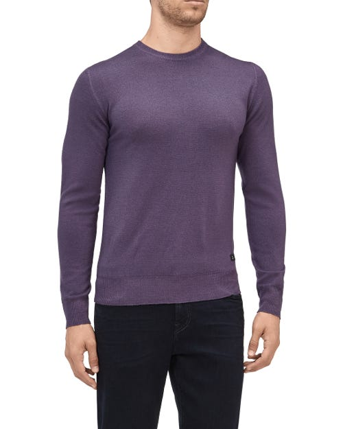 CREW NECK KNIT WOOL ABRASIONS VIOLET