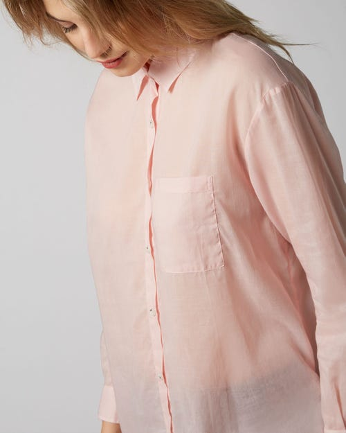 OVERSIZE SHIRT VOILE PALE PINK