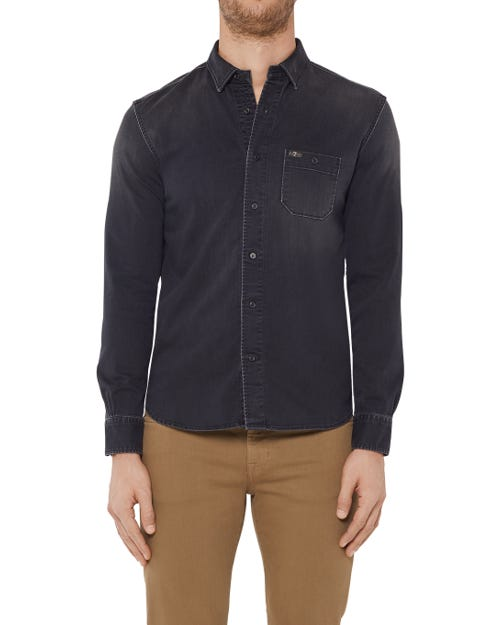 BUTTON DOWN SHIRT STRETCH DENIM WASHED BLACK
