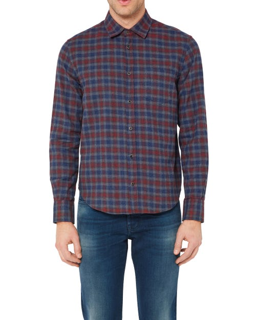 CLEAN SHIRT COTTON CHECK BLUE BURGUNDY WHITE