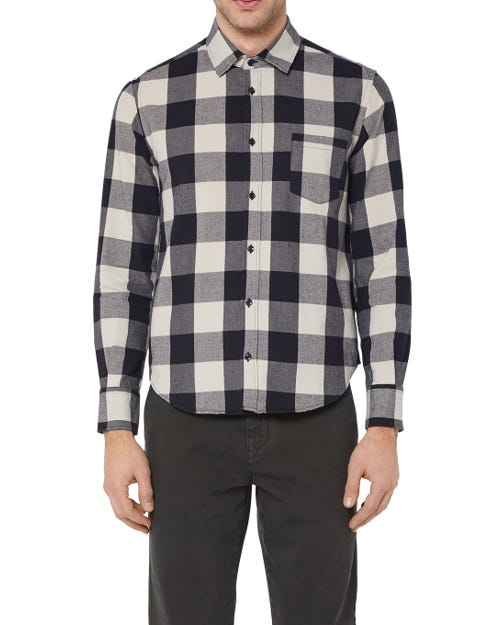 7 For All Mankind - Clean Shirt Cotton Check Black And White