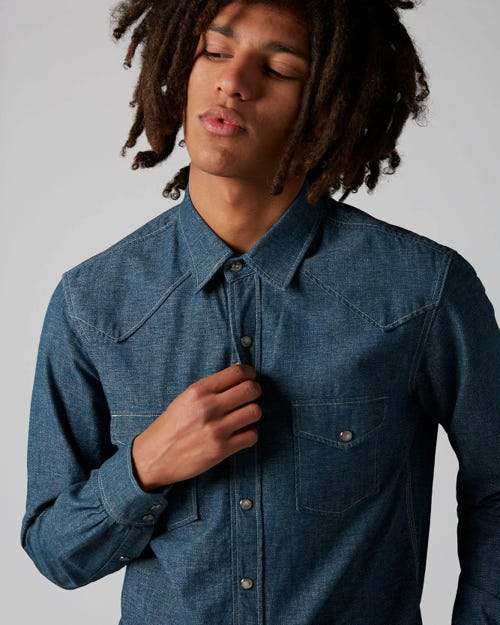 7 For All Mankind - Western Shirt Japan Cotton Light Blue