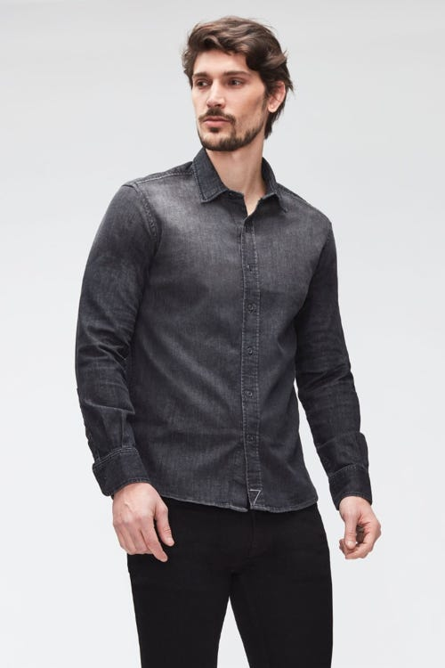PLAIN SHIRT LUXE PERFORMANCE WASHED BLACK