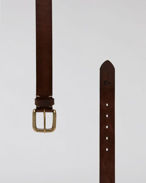STITCH DETAILED BELT WASHED LEATHER