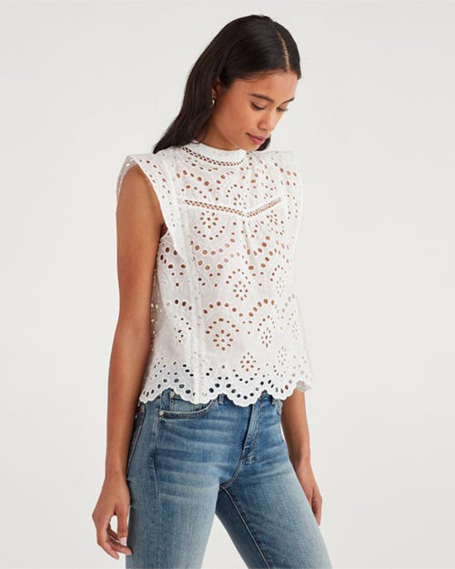 7 For All Mankind - Eyelet Sleeveless Top White