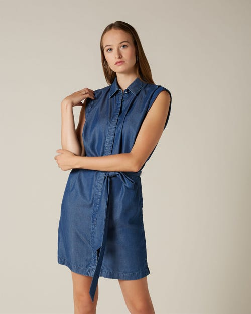 SLEEVELESS SHIRT DRESS VALLEY DARK INDIGO