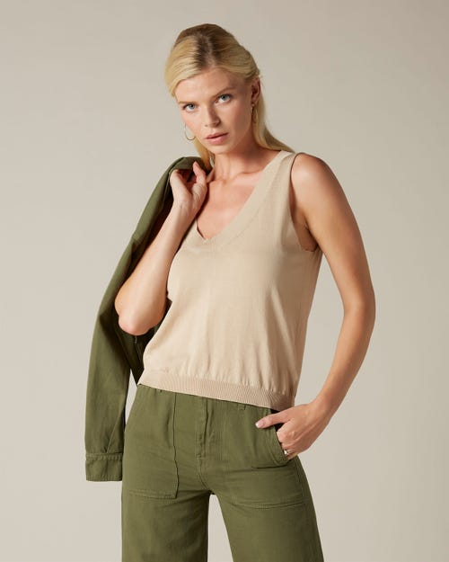 V NECK TANK COTTON BEIGE