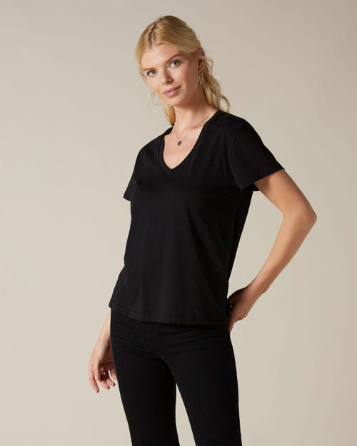 V-NECK COTTON BLACK ALL OVER CRYSTALS