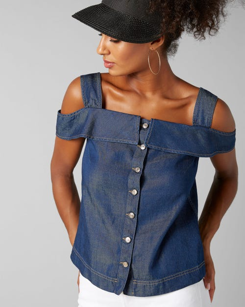 7 For All Mankind - Tank Top Topanga Rinse Indigo With Ruffles