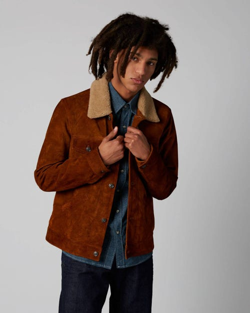 7 For All Mankind - Western Jacket Crust Leather Tobacco With Shearling Collar