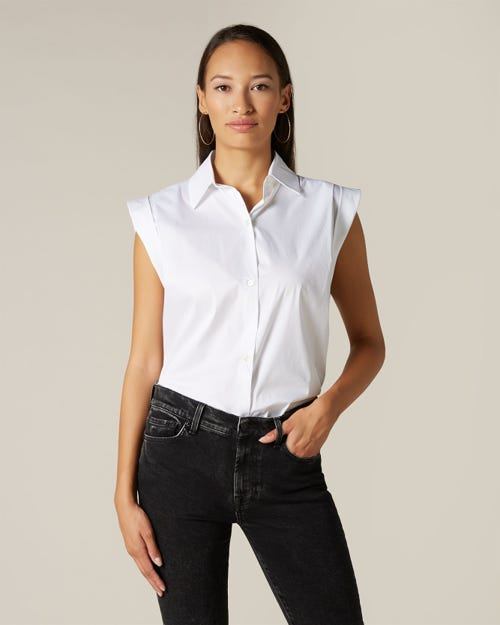 SLEEVELESS BUTTON UP SHIRT POPELINE OPTICAL WHITE