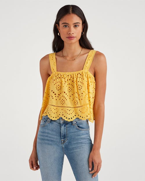 7 for all Mankind - EYELET TANK TOP DANDELION