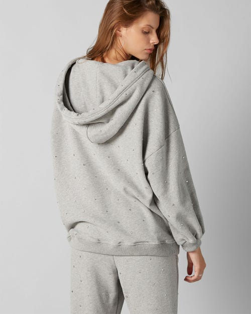 7 For All Mankind - Hoodie Cotton Grey With Rhinestones