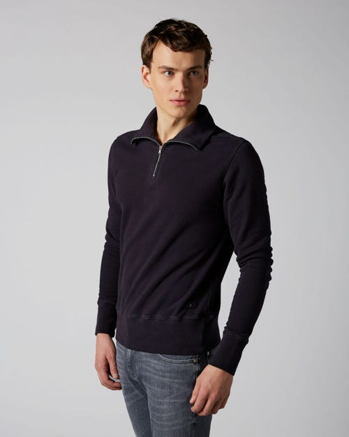 HALF ZIP SWEAT FLEECE NAVY