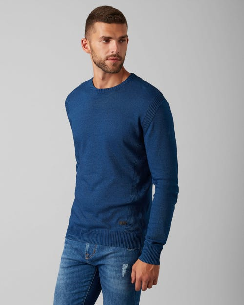 CREW NECK KNIT COTTON DARK INDIGO