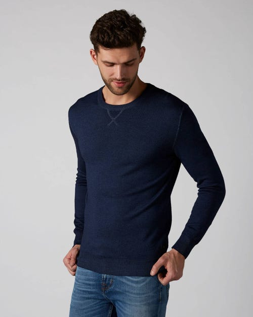 7 For All Mankind - Crew Neck Knit Wool Merino Navy