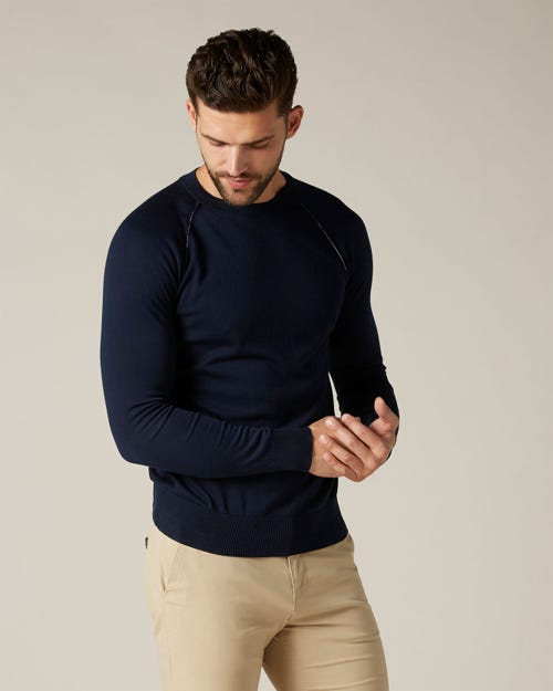 CREW NECK KNIT COTTON NAVY