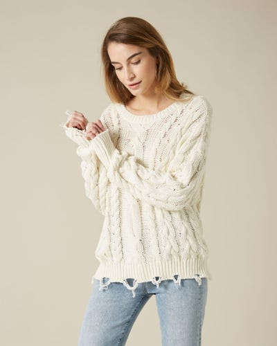 CABLE CREW NECK KNIT COTTON WOOL DISTRESSED DETAILS MILK