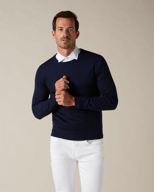 CREW NECK KNIT LIGHT CASHMERE NAVY BLUE
