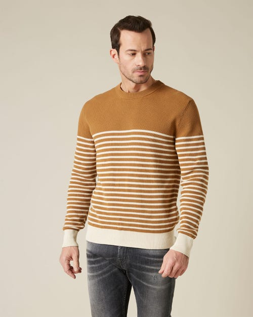 CREW NECK KNIT COTTON CAMEL & ECRU