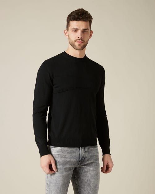 CREW NECK KNIT MERINO STITCH BLACK