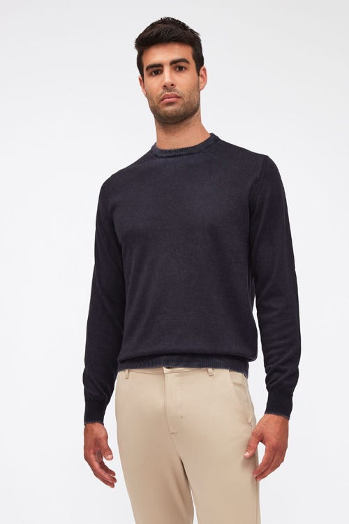 CREW NECK KNIT MERINO TREATED NAVY