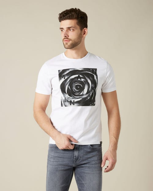 GRAPHIC TEE COTTON ROSE PRINT BLACK