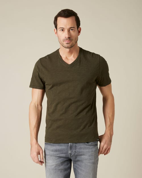 V-NECK T-SHIRT SLUB FOREST GREEN