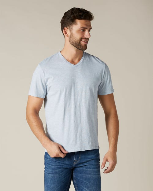 V-NECK T-SHIRT SLUB SKY BLUE