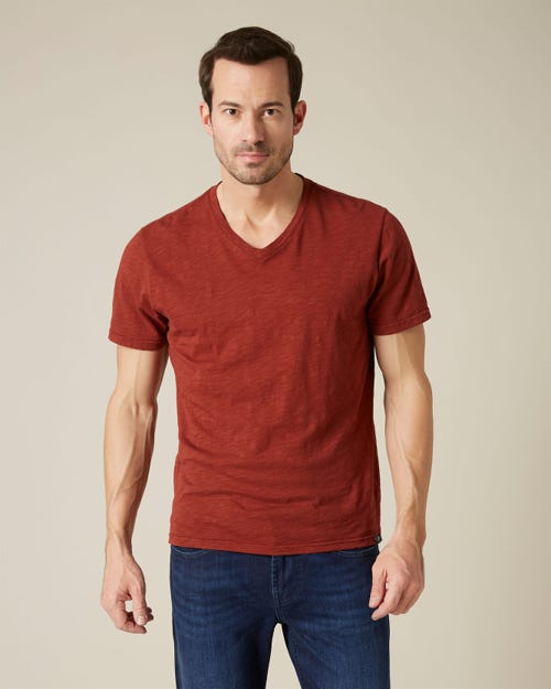 V-NECK T-SHIRT SLUB WINE