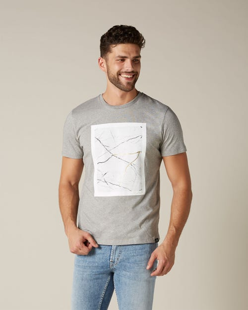 GRAPHIC TEE LIGHT JERSEY MAP GREY