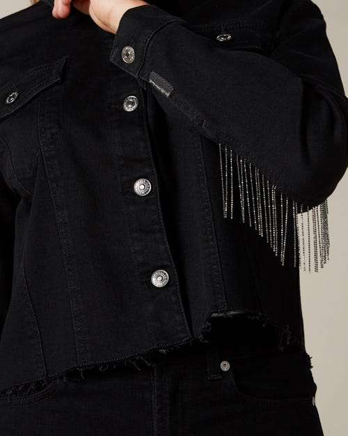 NEW JACKET NOIR OUTSEAM METAL FRINGES